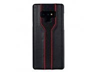Husa Piele - Plastic OEM Diamond Texture pentru Samsung Galaxy Note9 N960, Neagra - Rosie, Bulk