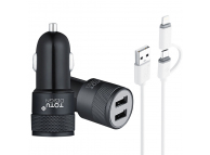 Incarcator Auto cu cablu MicroUSB - Lightning Totu Design, 2 X USB, 2.4A, Negru, Blister