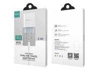 Incarcator Retea USB Totu Design CACA-012, 2 X USB, 2.4A, Alb, Blister