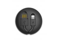 Cablu Date si Incarcare USB la Lightning Remax RC-099T Cutebaby, Retractabil, 1m, Negru, Blister
