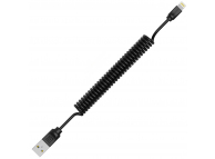 Cablu Date si Incarcare USB la Lightning Remax RC-117i Radiance Pro, Spiralat, 1 m, Negru, Blister