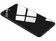 Husa TPU OEM cu spate din sticla pentru Apple iPhone 7 Plus / Apple iPhone 8 Plus, Neagra, Bulk