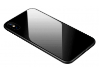 Husa TPU OEM cu spate din sticla pentru Apple iPhone XR, Neagra, Bulk
