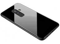 Husa TPU OEM cu spate din sticla pentru Samsung Galaxy A6+ (2018) A605, Neagra, Bulk