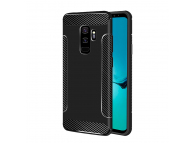 Husa TPU OEM Carbon Anti-slip pentru Samsung Galaxy S9 G960, Neagra, Bulk