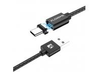 Cablu Incarcare USB la USB Type-C Floveme Magnetic, 3A, 1 m, Negru, Blister
