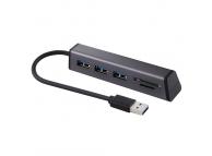 Hub USB cu 3 porturi USB 3.0 si cititor card OEM, Negru, Blister