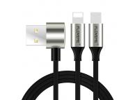 Cablu Date si Incarcare USB la Lightning - USB la MicroUSB Floveme L Type, 1 m, Negru, Blister