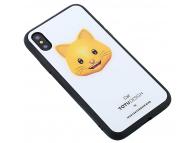 Husa Plastic - TPU Totu Design cu spate din sticla Cat pentru Apple iPhone X / Apple iPhone XS, Multicolor, Blister