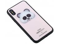 Husa Plastic - TPU Totu Design cu spate din sticla Panda pentru Apple iPhone X / Apple iPhone XS, Multicolor, Blister