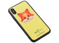 Husa Plastic - TPU Totu Design cu spate din sticla Fox pentru Apple iPhone X / Apple iPhone XS, Multicolor, Blister