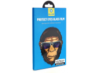 Folie Protectie Ecran Mr. Monkey Glass pentru Apple iPhone 7 Plus / Apple iPhone 8 Plus, Sticla securizata, Full Face, Full Glue, Strong Anti-Blue, Alba, Blister