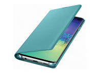 Husa Textil Samsung Galaxy S10 G973, Led View, Verde, Blister EF-NG973PGEGWW