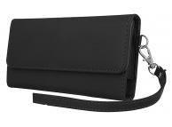Husa Piele OEM Wallet Chic pentru Telefon 6 inci, Dimensiuni interioare 165 x 80 mm, cu snur mana, Neagra, Bulk