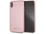 Husa Piele Guess Iridescent pentru Apple iPhone XS Max, Roz Aurie, Blister GUHCI65IGLRG