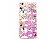 Husa TPU Disney Minnie 037 Liquid Glitter pentru Apple iPhone 7 / Apple iPhone 8, Roz, Blister