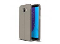 Husa TPU OEM Litchi pentru Samsung J6 Plus (2018) J610, Gri, Bulk