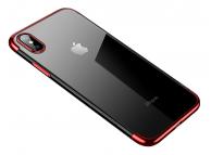 Husa TPU Cafele Ultra Slim Electroplating pentru Apple iPhone X / Apple iPhone XS, Rosie, Blister