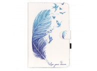 Husa Tableta Piele OEM Blue Feather pentru Samsung Galaxy Tab E 9.6, Alba, Bulk
