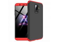 Husa Plastic OEM Full Cover pentru Samsung Galaxy A6+ (2018) A605, Neagra - Rosie, Bulk