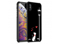 Husa TPU OEM Antisoc Love Cat pentru Apple iPhone XR, Neagra, Bulk