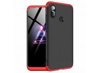 Husa Plastic OEM Full Cover pentru Xiaomi Redmi Note 6 Pro, Neagra - Rosie, Bulk