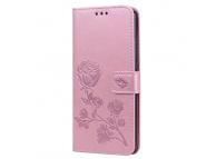 Husa Piele OEM Embossed Roses pentru Huawei Y9 (2019), Roz Aurie, Bulk