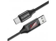 Cablu Date si Incarcare USB la USB Type-C Floveme Cu tester consum, 1 m, Negru, Blister