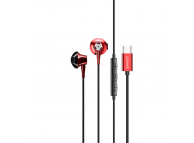 Handsfree Casti EarBuds Usams EP-25 Metal Stereo, Cu microfon, USB Type-C, Rosu, Blister