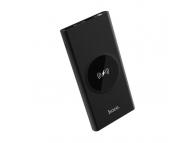 Baterie Externa Powerbank HOCO Wisdom J37 cu afisaj, 10000 mA, 2 x USB - Wireless, Neagra, Blister