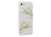 Husa TPU OEM Floral Magnolia pentru Apple iPhone 7 / Apple iPhone 8, Multicolor - Transparenta, Blister