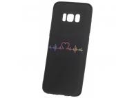 Husa TPU OEM Heart Beat pentru Samsung Galaxy A6 (2018) A600, Neagra, Bulk