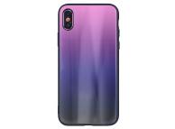 Husa TPU OEM Aurora cu spate din sticla pentru Samsung Galaxy J6 J600, Neagra - Roz, Bulk