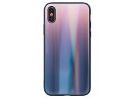 Husa TPU OEM Aurora cu spate din sticla pentru Samsung Galaxy S9 G960, Maro - Neagra, Bulk