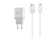 Incarcator Retea cu cablu MicroUSB HOCO C22A, 1 X USB, Alb, Blister