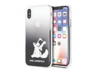 Husa Plastic Karl Lagerfeld Choupette Fun pentru Apple iPhone X / Apple iPhone XS, Neagra - Transparenta, Blister KLHCPXCFNRCBK