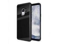 Husa TPU OEM cu spate din sticla pentru Samsung Galaxy A9 (2018), Neagra, Bulk
