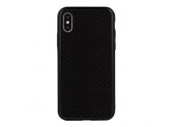 Husa TPU OEM Carbon cu spate din sticla pentru Samsung J6 Plus (2018) J610, Neagra, Bulk