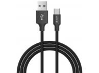 Cablu Date si Incarcare USB la USB Type-C DEVIA Pheez, 2 m, Negru, Blister