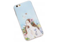Husa TPU OEM Embossed Butterfly and Girl pentru Apple iPhone 6 / Apple iPhone 6s, Multicolor, Bulk