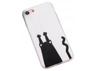 Husa TPU OEM Black Cat Catch Wall pentru Apple iPhone 7 / Apple iPhone 8, Alba - Neagra, Bulk