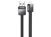 Cablu Date si Incarcare USB la MicroUSB Remax Platinium Metal RC-044m, 1 m, Negru, Blister