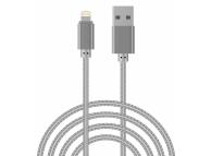 Cablu Date si Incarcare USB la Lightning OEM Woven, 1 m, Argintiu, Bulk