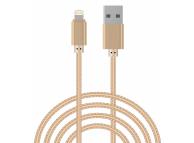 Cablu Date si Incarcare USB la Lightning OEM Woven, 3 m, Auriu, Bulk