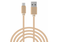 Cablu Date si Incarcare USB la USB Type-C OEM Woven, 1 m, Auriu, Bulk