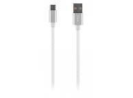 Cablu Date si Incarcare USB la USB Type-C OEM Woven, 1 m, Alb, Bulk