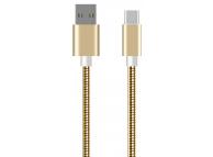 Cablu Date si Incarcare USB la USB Type-C OEM Metalic, 1 m, Auriu, Bulk