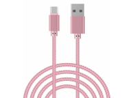 Cablu Date si Incarcare USB la USB Type-C OEM Woven, 2 m, Roz, Bulk