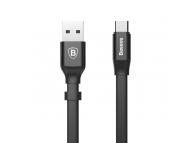 Cablu Date si Incarcare USB la USB Type-C Baseus Nimble Flat, 0.23 m, Negru, Blister CATMBJ-01