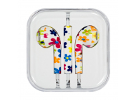 Handsfree Casti EarBuds OEM iPhone iPad iPod, Flowers, Cu microfon, 3.5 mm, Multicolor, Bulk